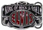 Elvis King of Rock n Roll (red/black) Belt Buckle with display stand